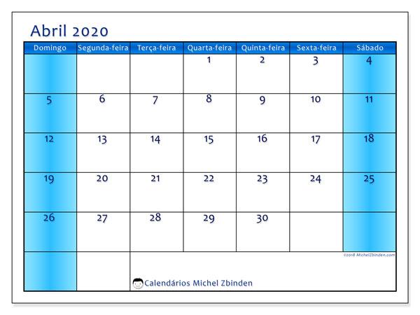 Calendário abril 2020, 58DS. Calendário para o mês para imprimir livre.