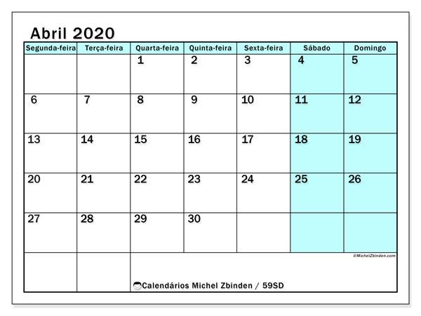 Calendário abril 2020, 59SD. Calendário para imprimir livre.