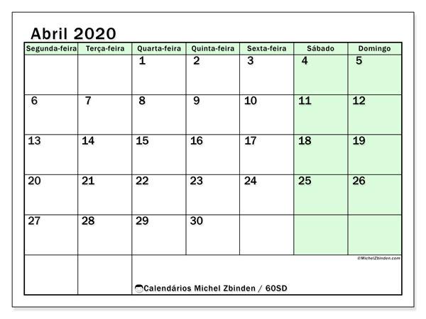 Calendário abril 2020, 60SD. Calendário mensal para imprimir gratuitamente.