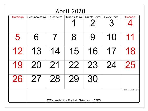 Calendário abril 2020, 62DS. Calendário para o mês para imprimir livre.