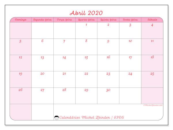Calendário abril 2020, 63DS. Horário para imprimir livre.