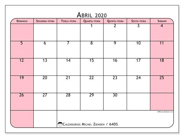 Calendário abril 2020, 64DS. Calendário para imprimir livre.