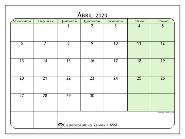 Calendário abril 2020, 65SD. Horário para imprimir livre.