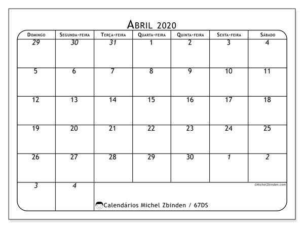 Calendário abril 2020, 67DS. Calendário gratuito para imprimir.