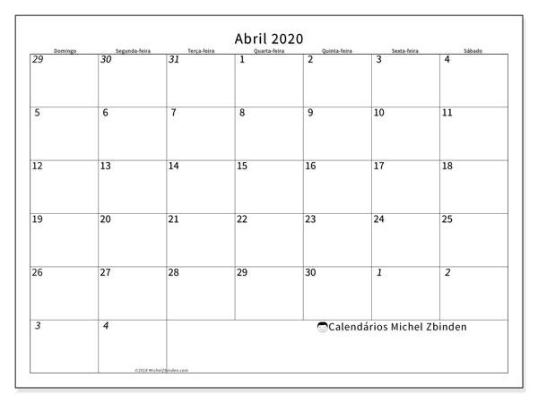 Calendário abril 2020, 70DS. Calendário para o mês para imprimir livre.