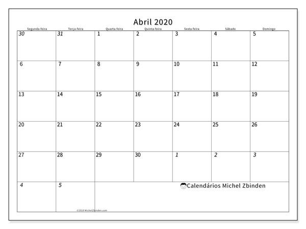 Calendário abril 2020, 70SD. Calendário para o mês para imprimir livre.