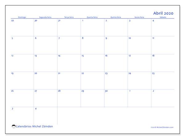 Calendário abril 2020, 73DS. Calendário para imprimir livre.