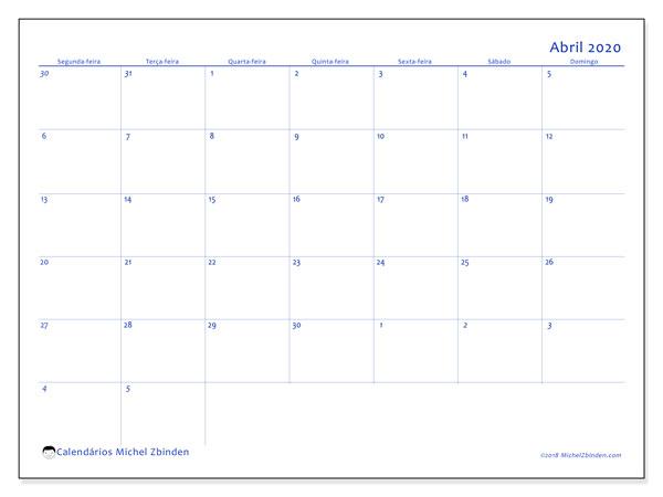 Calendário abril 2020, 73SD. Calendário para o mês para imprimir livre.