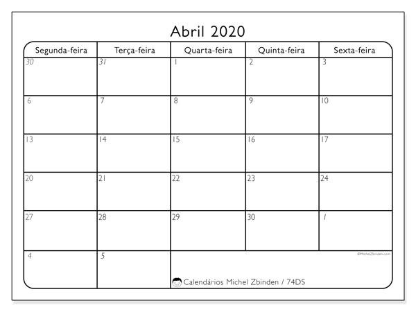 Calendário abril 2020, 74DS. Calendário gratuito para imprimir.