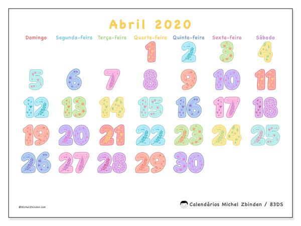 Calendário abril 2020, 83DS. Calendário para imprimir livre.