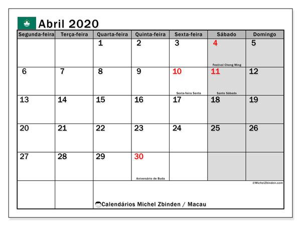 Calendário abril 2020, com as festas do Macau. Calendário para impressão gratuita com feriados.