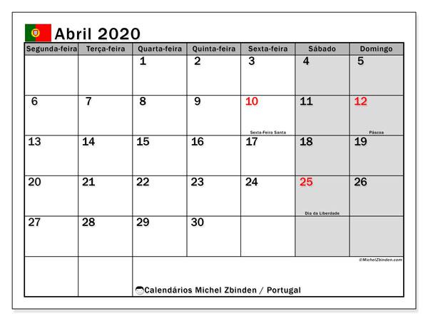 Calendário abril 2020, com com feriados em Portugal. Calendário para impressão gratuita com feriados.