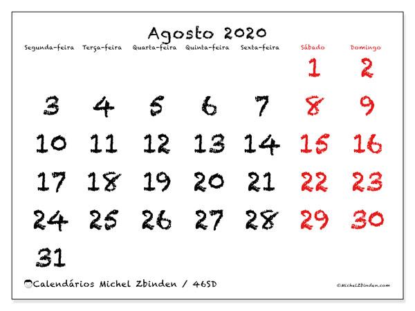 Calendário agosto 2020, 46SD. Calendário para imprimir gratuitamente.