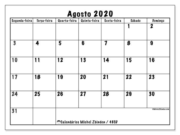 Calendário agosto 2020, 48SD. Agenda para imprimir livre.