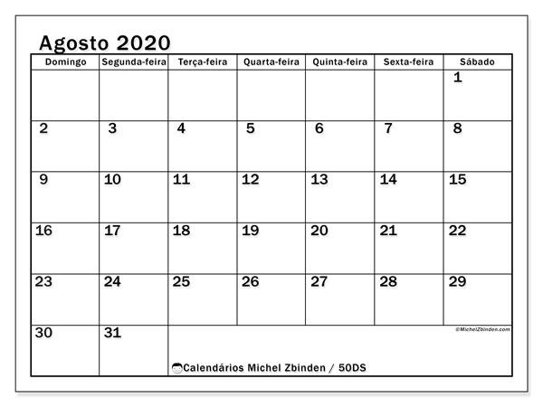 Calendário agosto 2020, 50DS. Calendário para imprimir gratuitamente.