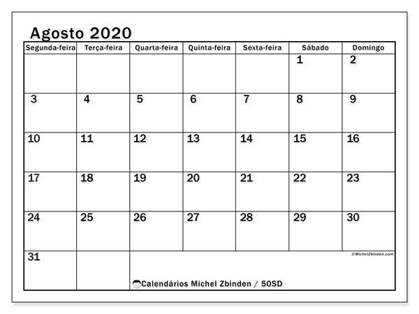 Calendário agosto 2020, 50SD. Calendário gratuito para imprimir.