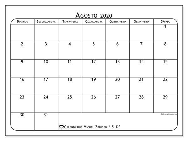 Calendário agosto 2020, 51DS. Calendário gratuito para imprimir.