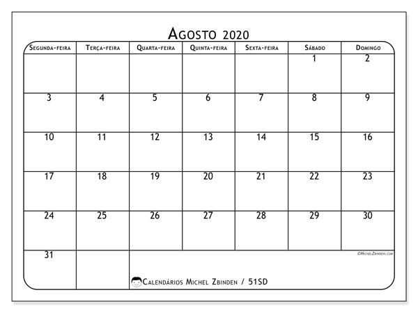 Calendário agosto 2020, 51SD. Calendário mensal para imprimir gratuitamente.
