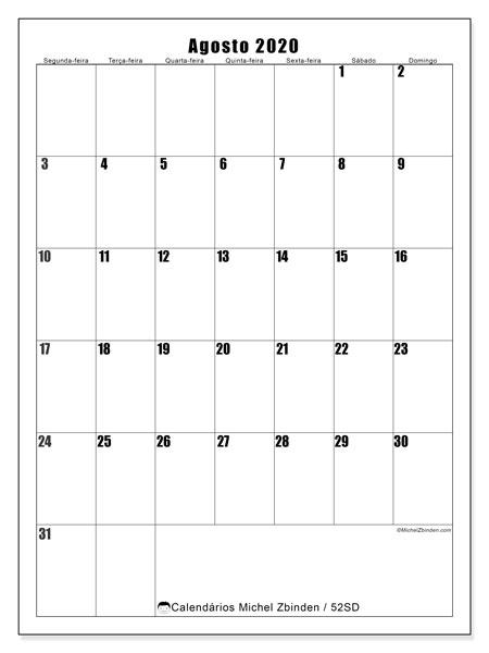 Calendário agosto 2020, 52SD. Calendário para imprimir gratuitamente.