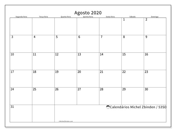 Calendário agosto 2020, 53SD. Calendário gratuito para imprimir.