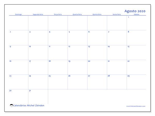 Calendário agosto 2020, 55DS. Calendário mensal para imprimir gratuitamente.