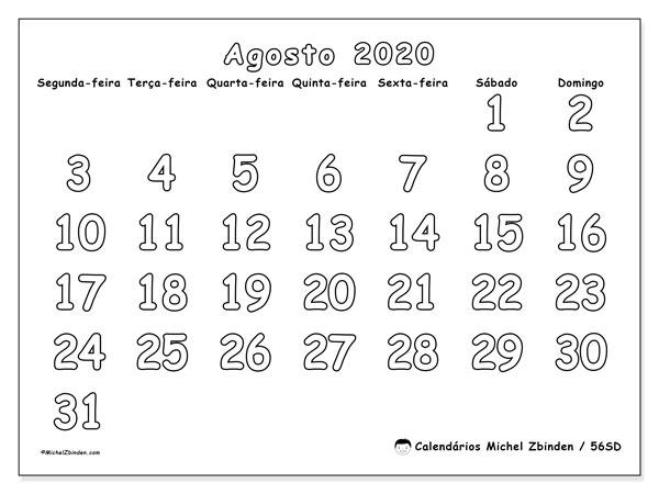 Calendário agosto 2020, 56SD. Calendário mensal para imprimir gratuitamente.