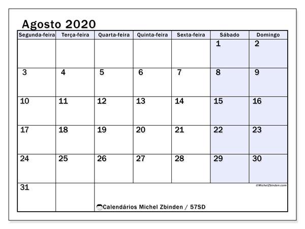 Calendário agosto 2020, 57SD. Horário para imprimir livre.