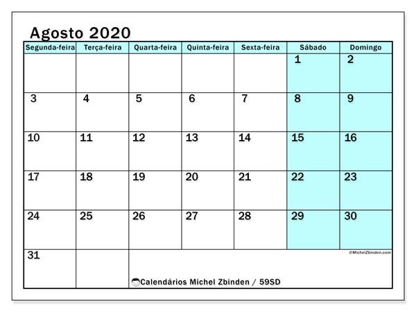Calendário agosto 2020, 59SD. Calendário gratuito para imprimir.