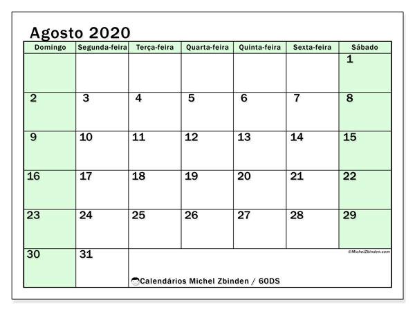 Calendário agosto 2020, 60DS. Calendário para imprimir livre.