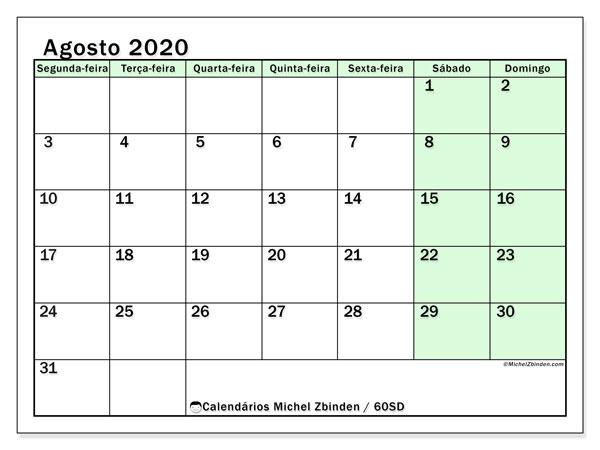 Calendário agosto 2020, 60SD. Calendário mensal para imprimir gratuitamente.