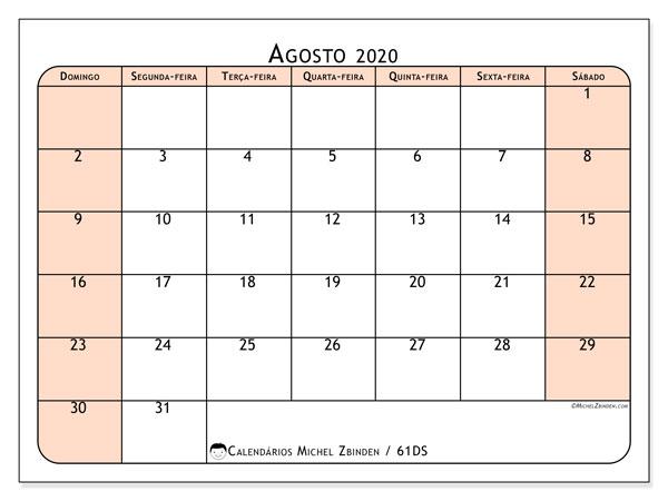 Calendário agosto 2020, 61DS. Horário para imprimir livre.