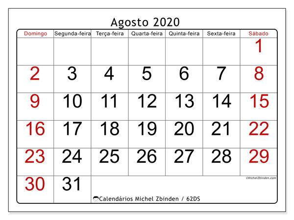 Calendário agosto 2020, 62DS. Agenda para imprimir livre.