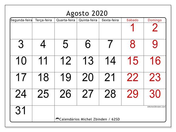 Calendário agosto 2020, 62SD. Calendário gratuito para imprimir.