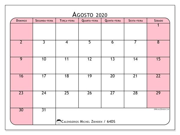 Calendário agosto 2020, 64DS. Horário para imprimir livre.
