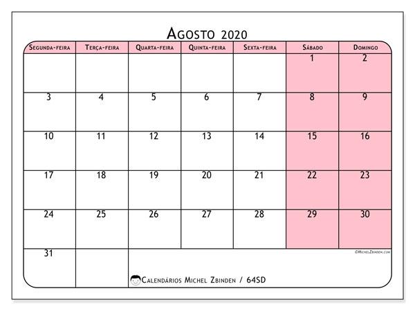 Calendário agosto 2020, 64SD. Calendário gratuito para imprimir.
