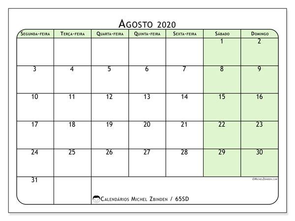 Calendário agosto 2020, 65SD. Agenda para imprimir livre.