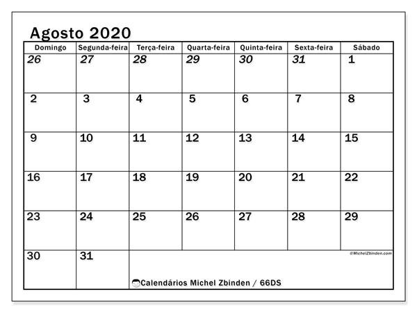 Calendário agosto 2020, 66DS. Horário para imprimir livre.