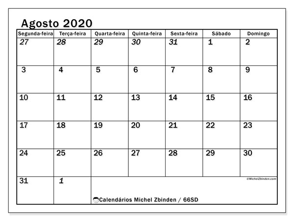 Calendário agosto 2020, 66SD. Calendário para o mês para imprimir livre.