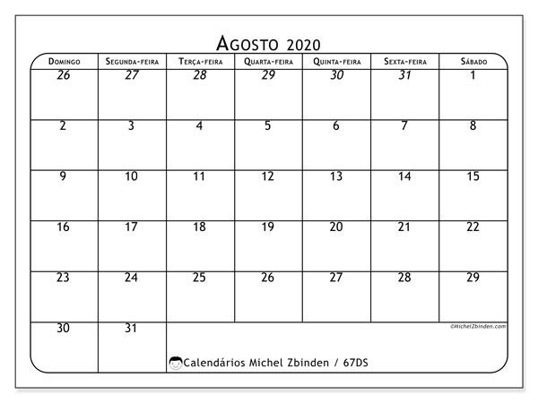 Calendário agosto 2020, 67DS. Calendário mensal para imprimir gratuitamente.