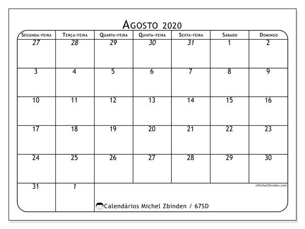 Calendário agosto 2020, 67SD. Calendário para o mês para imprimir livre.
