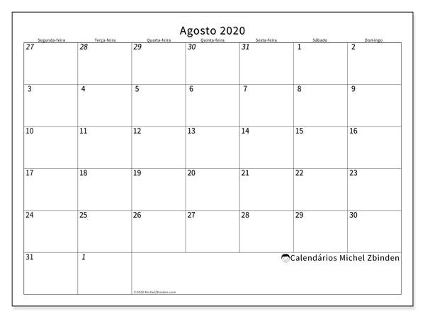 Calendário agosto 2020, 70SD. Calendário para imprimir gratuitamente.