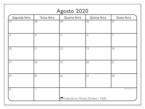 Calendário agosto 2020, 74DS. Calendário para imprimir livre.