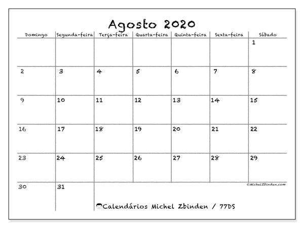 Calendário agosto 2020, 77DS. Calendário mensal para imprimir gratuitamente.