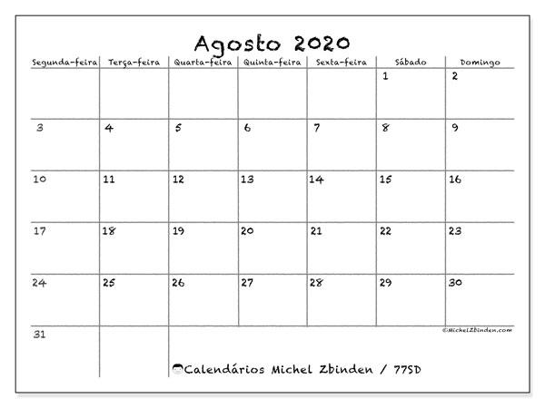 Calendário agosto 2020, 77SD. Agenda para imprimir livre.