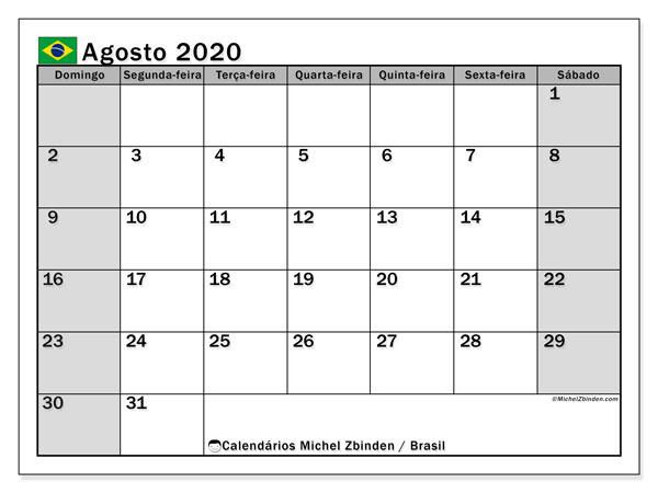 Calendário agosto 2020, com as festas do Brasil. Calendário para impressão gratuita com feriados.