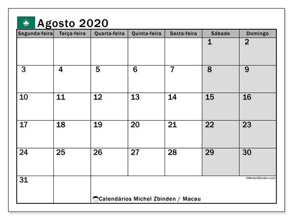 Calendário agosto 2020, com as festas do Macau. Calendário para impressão gratuita com feriados.