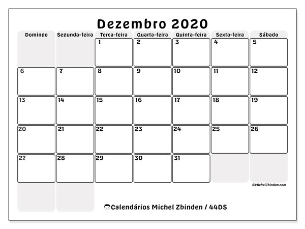 Calendário dezembro 2020, 44DS. Calendário para o mês para imprimir livre.