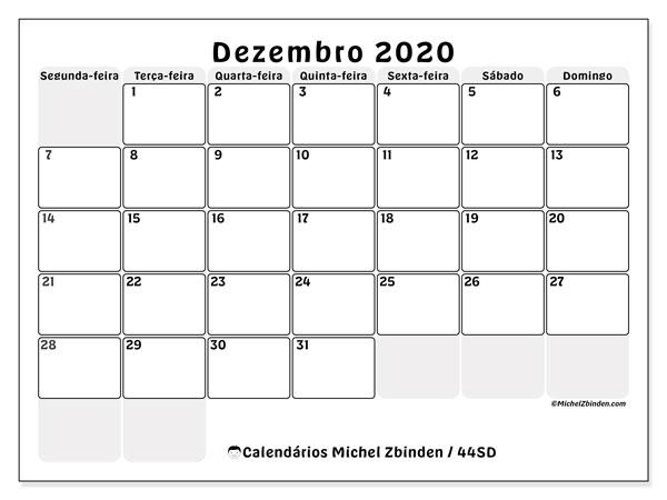 Calendário dezembro 2020, 44SD. Calendário para imprimir livre.