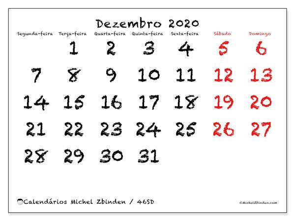 Calendário dezembro 2020, 46SD. Agenda para imprimir livre.