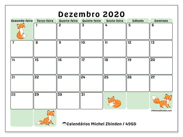 Calendário dezembro 2020, 49SD. Calendário para imprimir livre.